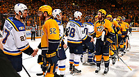 NASHVILLE, TN - MAY 07:  Alex Pietrangelo #27 of the St. Louis Blues shakes hands with Matt Irwin #52 of the Nashville Predators and Kyle Brodziak #28 shakes hands with James Neal #18 of the Nashville Predators after a 3-1 Predator victory over the St. Louis Blues in Game Six of the Western Conference Second Round during the 2017 NHL Stanley Cup Playoffs  at Bridgestone Arena on May 7, 2017 in Nashville, Tennessee.  (Photo by Frederick Breedon/Getty Images)