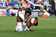 Luton Town midfielder Pelly-Rudduck Mpanzu (17) feels this one during the EFL Sky Bet League 1 match between Peterborough United and Luton Town at London Road, Peterborough, England on 18 August 2018.