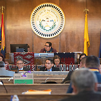 Navajo Nation President Jonathan Nez delivers the State of the Nation Address Monday, Jan. 27 in the Navajo Nation Council Chambers on the first day of the Navajo Nation Council Winter Session in Window Rock, Arizona accompanied by Navajo Nation Second Lady Dottie Lizer, far left, Navajo Nation Vice-President Myron Lizer, and Navajo Nation First Lady Phefelia Nez.