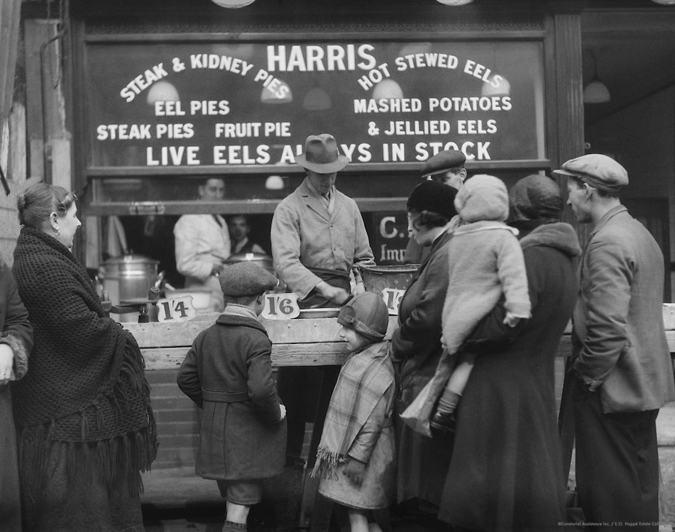Harris' Eel Shop, New Cut and Lower Marsh, London, 1932