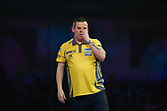 Dave Chisnall fearing the worst during the World Darts Championships 2018 at Alexandra Palace, London, United Kingdom on 29 December 2018.