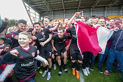 Arbroath's players after they win the first division. Brechin City 1 v 1 Arbroath, Scottish Football League Division One played 13/4/2019 at Brechin City's home ground Glebe Park. Arbroath win promotion.