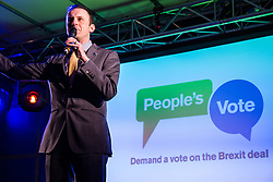 London, UK. 15th January, 2019. Stephen Gethins, SNP MP for North East Fife, addresses pro-EU activists attending a People's Vote rally in Parliament Square as MPs vote in the House of Commons on Prime Minister Theresa May's proposed final Brexit withdrawal agreement.