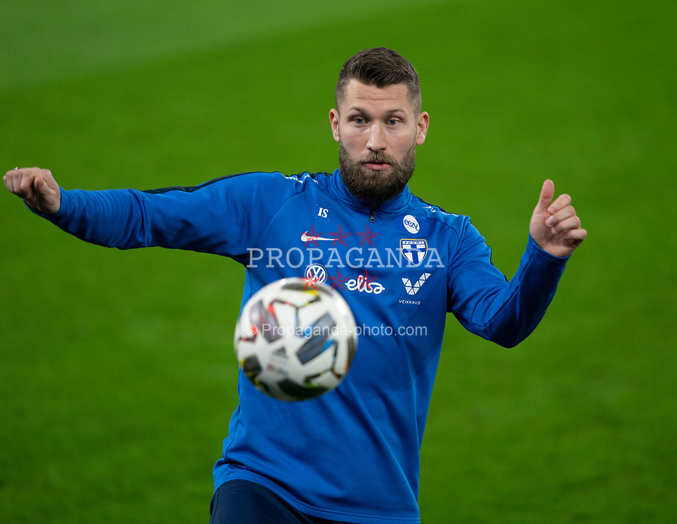 CARDIFF, WALES - Tuesday, November 17, 2020: Finland's Joona Toivio during a training session at the Cardiff City Stadium ahead of the UEFA Nations League Group Stage League B Group 4 match between Wales and Finland. (Pic by David Rawcliffe/Propaganda)