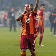 Galatasaray's Wesley Sneijder celebrate victory during their Turkish Superleague soccer match Kasimpasa SK between Galatasaray at the Recep Tayyip Erdogan stadium in Istanbul Turkey on Saturday 21 March 2015. Photo by Aykut AKICI/TURKPIX