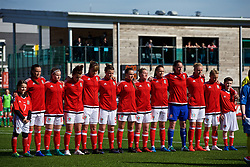YSTRAD MYNACH, WALES - Wednesday, April 5, 2017: Wales players line-up for the national anthems ahead of the Women's International Friendly match against Northern Ireland at Ystrad Mynach. From left-right: Natasha Harding, Hannah Miles, Angharad James, Gemma Evans, Hayley Ladd, Georgia Evans, Rachel Rowe, Kayleigh Green, Laura O'Sullivan, Sophie Ingle and Jessica Fishlock. (Pic by Laura Malkin/Propaganda)