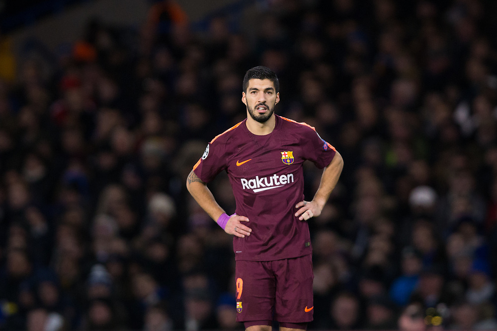 Barcelona's Luis Suarez reacts <br /> <br /> Photographer Craig Mercer/CameraSport<br /> <br /> UEFA Champions League Round of 16 1st Leg - Chelsea v Barcelona - Tuesday 20th February 2018 - Stamford Bridge - London<br />  <br /> World Copyright © 2017 CameraSport. All rights reserved. 43 Linden Ave. Countesthorpe. Leicester. England. LE8 5PG - Tel: +44 (0) 116 277 4147 - admin@camerasport.com - www.camerasport.com