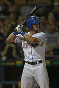 Durham Bulls first baseman Jim Haley (13) prepares to hit the ball during the MiLB International Championship baseball game against the Columbus Clippers, Thursday, September 12, 2019, in Durham, N.C. The Clippers beat the Bulls 6-2 to complete a three-game sweep of the two-time defending champion. (Brian Villanueva/Image of Sport)