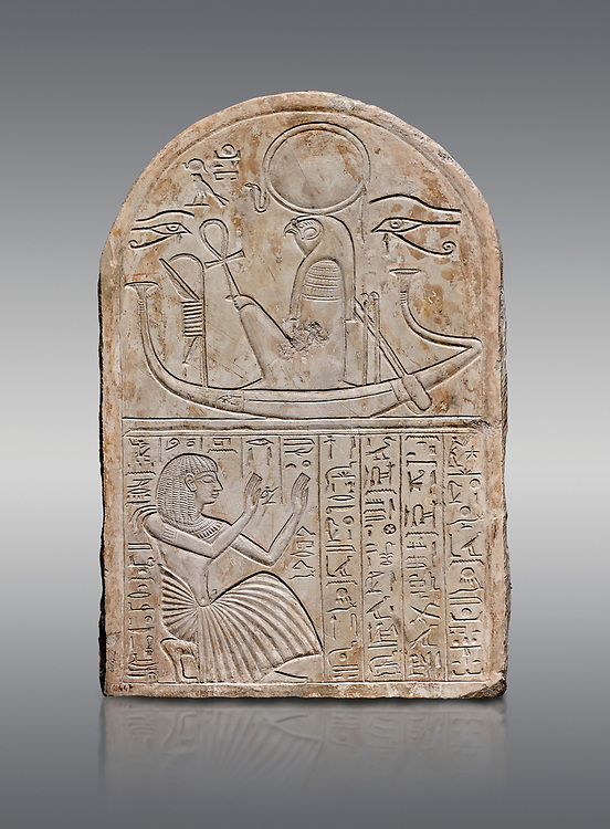 Ancient Egyptian stele dedicated to Re-Harakhty by draftsman Pay, limestone, New Kingdom, 19th Dynasty, (1292-1190 BC), Deir el-Medina, Schiaprelli cat 6144. Egyptian Museum, Turin. Grey background .<br /> <br /> If you prefer to buy from our ALAMY PHOTO LIBRARY  Collection visit : https://www.alamy.com/portfolio/paul-williams-funkystock/ancient-egyptian-art-artefacts.html  . Type -   Turin   - into the LOWER SEARCH WITHIN GALLERY box. Refine search by adding background colour, subject etc<br /> <br /> Visit our ANCIENT WORLD PHOTO COLLECTIONS for more photos to download or buy as wall art prints https://funkystock.photoshelter.com/gallery-collection/Ancient-World-Art-Antiquities-Historic-Sites-Pictures-Images-of/C00006u26yqSkDOM