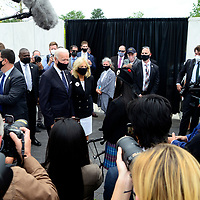 The press swarms around Vice President and Democratic candidate Joe Biden and his wife Jill as they speak with Marissa Yee, a young bagpiper at the Wall of Names following the Moment of Remembrance ceremony on Friday, September 11, 2020 near Shanksville, Pennsylvania. Photo by Archie Carpenter/UPI