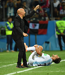 NIZHNY NOVGOROD, June 21, 2018  Argentina's head coach Jorge Sampaoli (L) reacts during the 2018 FIFA World Cup Group D match between Argentina and Croatia in Nizhny Novgorod, Russia, June 21, 2018. (Credit Image: © Li Ga/Xinhua via ZUMA Wire)