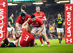 Tomas Francis of Wales celebrates scoring his sides first try<br /> <br /> Photographer Simon King/Replay Images<br /> <br /> Under Armour Series - Wales v South Africa - Saturday 24th November 2018 - Principality Stadium - Cardiff<br /> <br /> World Copyright © Replay Images . All rights reserved. info@replayimages.co.uk - http://replayimages.co.uk