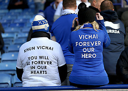 Leicester fans pay their respects with Vichai forever t-shirts