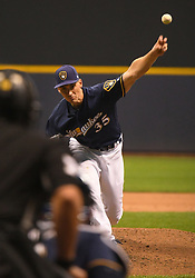 May 8, 2018 - Milwaukee, WI, U.S. - MILWAUKEE, WI - MAY 08: Milwaukee Brewers Pitcher Brent Suter (35) delivers a pitch during a MLB game between the Milwaukee Brewers and Cleveland Indians on May 8, 2018 at Miller Park in Milwaukee, WI. The Brewers defeated the Indians 3-2.(Photo by Nick Wosika/Icon Sportswire) (Credit Image: © Nick Wosika/Icon SMI via ZUMA Press)