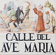 Ceramic street sign in Madrid, Spain. Calle del Ave Maria (Hail Mary street)