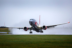 © Licensed to London News Pictures. 16/02/2020. Leeds UK. A Jet2 aircraft takes off in strong winds & heavy rain from Leeds Bradford airport this morning as Storm Dennis continues to batter the UK.  Photo credit: Andrew McCaren/LNP