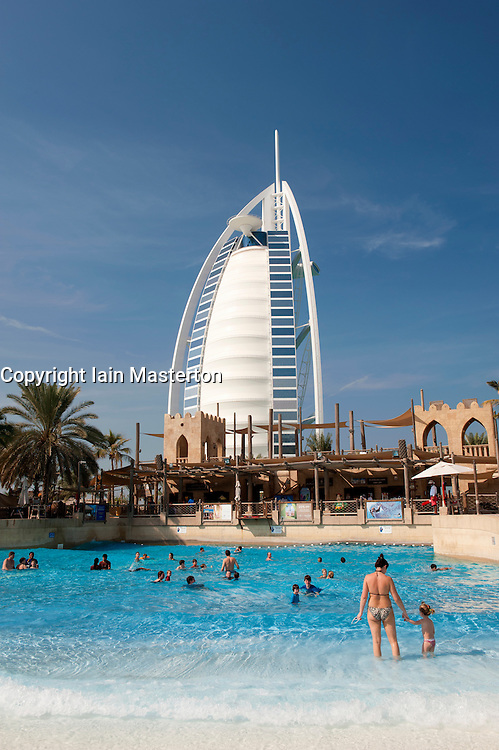 View of Burj al Arab hotel from water park in Dubai in United Arab Emirates