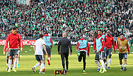 Manchester United players in warm up during the Europa League match between Saint-Etienne and Manchester United at Stade Geoffroy Guichard, Saint-Etienne, France on 22 February 2017. Photo by Phil Duncan.