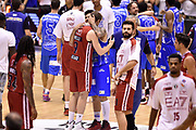 DESCRIZIONE : Milano Lega A 2014-15 EA7 Emporio Armani Milano vs Banco di Sardegna Sassari playoff Semifinale gara 7 <br /> GIOCATORE : Nicolo' Melli Brian Sacchetti Romeo Sacchetti<br /> CATEGORIA : fairplay postgame<br /> SQUADRA : EA7 Emporio Armani Milano Banco di Sardegna Sassari<br /> EVENTO : PlayOff Semifinale gara 7<br /> GARA : EA7 Emporio Armani Milano vs Banco di Sardegna SassariPlayOff Semifinale Gara 7<br /> DATA : 10/06/2015 <br /> SPORT : Pallacanestro <br /> AUTORE : Agenzia Ciamillo-Castoria/GiulioCiamillo<br /> Galleria : Lega Basket A 2014-2015 Fotonotizia : Milano Lega A 2014-15 EA7 Emporio Armani Milano vs Banco di Sardegna Sassari playoff Semifinale  gara 7 Predefinita :