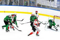 Erik Svetina of HDD SIJ Acroni Jesenice vs Tilen Spreitzer of HK SZ Olimpija during ice hockey match between HK SZ Olimpija and HDD SIJ Acroni Jesenice in first game of Final at Slovenian National League, on April 30, 2020 in Hala Tivoli, Ljubljana, Slovenia. Photo by Matic Klansek Velej / Sportida
