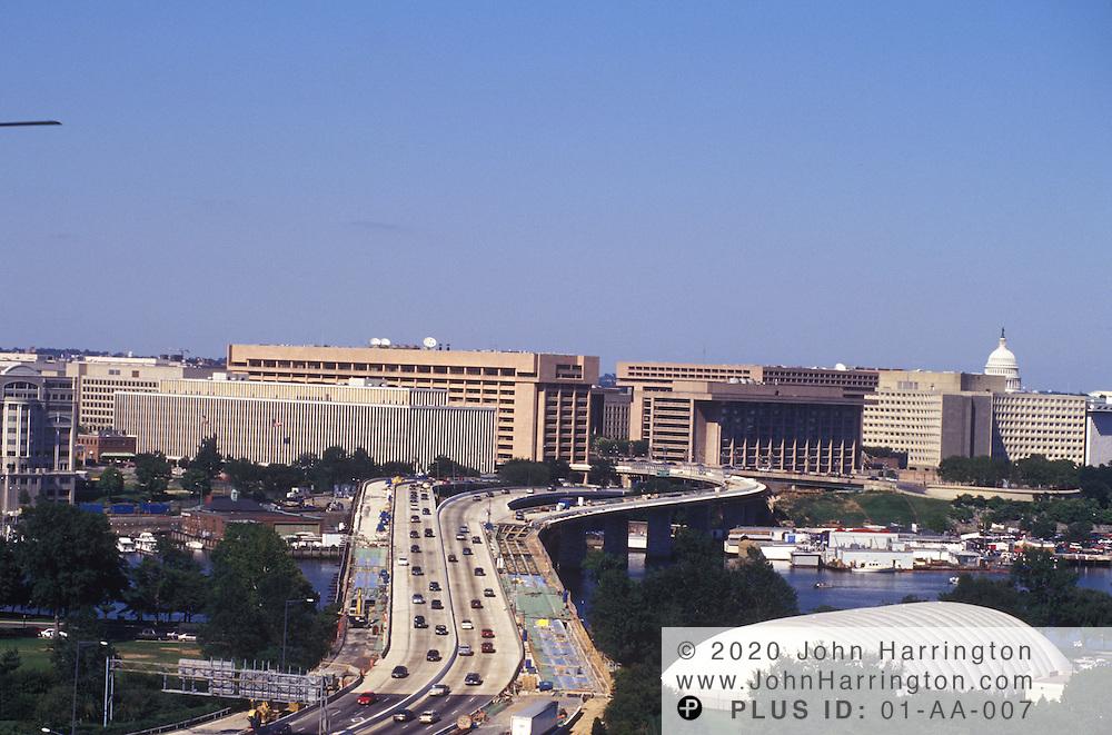 The 14th Street Bridge entry point into Washington DC crossing the Potomac River