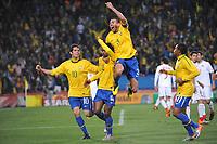FOOTBALL - FIFA WORLD CUP 2010 - 1/8 FINAL - BRAZIL v CHILE - 28/06/2010 - PHOTO GUY JEFFROY / DPPI - JOY BRAZIL