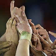 New Zealand players celebrate after winning the IRB Junior World Championships in Argentina. New Zealand won the final against Australa 62-17 at Estadio El Coloso del Parque, Rosario, Argentina. 21st June 2010. Photo Tim Clayton..