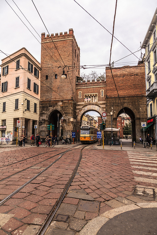"""The medieval Porta Ticinese is a former city gate of Milan, Italy. The name """"Porta Ticinese"""" means """"Gate to the Ticino"""", referred to the Ticino river, that traverses the Po Valley south-west of Milan."""