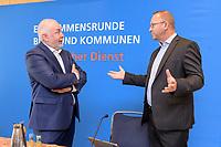"""25 AUG 2020, BERLIN/GERMANY:<br /> Ulrich Silberbach (L), Bundesvorsitzender Deutscher Beamtenbund, dbb, und Frank Werneke (R), Vorsitzender ver.di Dienstleistungsgewerkschaft, vor Beginn der Pressekonferenz """"Forderungsaufstellung zur Einkommensrunde fuer den oeffentlichen Dienst von Bund und Kommunen"""", Hotel Maritim ProArte<br /> IMAGE: 20200825-01-011"""