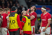 Twickenham, England, 7th March 2020, Wales captain, Alun WYN JONES,  re-hydrates during a break in play  Guinness Six Nations, International Rugby, England vs Wales, RFU Stadium, United Kingdom, [Mandatory Credit; Peter SPURRIER/Intersport Images]