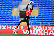 Wayne Hennessey, the Wales goalkeeper during the Wales football team training at the Cardiff City Stadium in Cardiff, South Wales on Wed 23rd March 2016. The team are preparing for their forthcoming friendly against Northern Ireland.<br /> pic by  Andrew Orchard, Andrew Orchard sports photography.