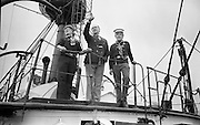 """Sea Scouts aboard the Lightship """"Albatross""""..1972..22.07.1972..07.22.1972..22nd July 1972..Pictured aboard the """"Albatross""""Mr Brendan O'Kelly and two sea scouts stand on the upper deck."""