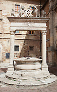 Ancient buildings and structures on Piazza del Montepulciano, an ancient hilltop town in Tuscany, Italy