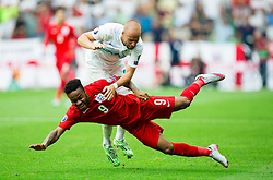 Miso Brecko of Slovenia vs Raheem Sterling of England during the EURO 2016 Qualifier Group E match between Slovenia and England at SRC Stozice on June 14, 2015 in Ljubljana, Slovenia. Photo by Vid Ponikvar / Sportida