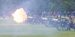Hyde Park, London, June 2nd 2016. Soldiers and guns of the King's Troop Royal Horse Artillery fire a 41 round Royal Salute to mark the 63rd anniversary of the coronation of Britain's Monarch HM Queen Elizabeth II. PICTURED: With a concussive blast a gun fires its round.