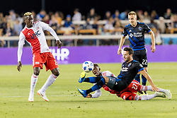 June 13, 2018 - San Jose, CA, U.S. - SAN JOSE, CA - JUNE 13: San Jose Earthquakes Midfielder Vako (11) and New England Revolution Midfielder Luis Caicedo (27) fight for the ball during the MLS game between the New England Revolution and the San Jose Earthquakes on June 13, 2018, at Avaya Stadium in San Jose, CA. The game ended in a 2-2 tie. (Photo by Bob Kupbens/Icon Sportswire) (Credit Image: © Bob Kupbens/Icon SMI via ZUMA Press)