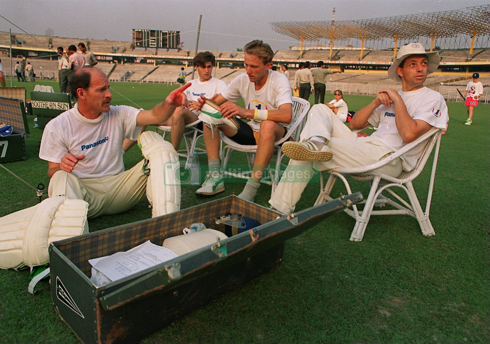 Whilst padding up for the match Clive Rice (l) chats to South African team mates Richard Snell, Allan Donald, Dave Richardson.