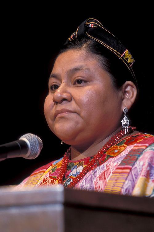 Nobel Peace Prize winner Guatemalan Rigoberta Menchu at human rights symposium in Georgetown, Texas.<br /> ©Bob Daemmrich/