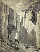 Les Gargantas (gorges) de Pancorbo- ancienne route des diligences [The Gorges of Pancorbo (in Castile and Leon) - old stagecoach route] Page illustration from the book 'Spain' [L'Espagne] by Davillier, Jean Charles, barón, 1823-1883; Doré, Gustave, 1832-1883; Published in Paris, France by Libreria Hachette, in 1874