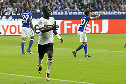 GELSENKIRCHEN, Sept. 11, 2017  Stuttgart's Chadrac Akolo celebrates after scoring during the Germany Bundesliga soccer match between Schalke 04 and Stuttgart in Gelsenkirchen, western Germany, on Sept. 10, 2017. Schalke 04 won 3-1. (Credit Image: © Joachim Bywaletz/Xinhua via ZUMA Wire)