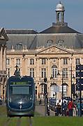 The modern tram. On Les Quais. Place de la Bourse. Bordeaux city, Aquitaine, Gironde, France