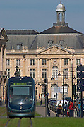 The modern tram. On Les Quais. Place de la Bourse. Bordeaux city, Aquitaine, Gironde, France
