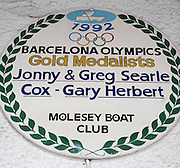 Molesey Surrey.  Plaque mounted at Molesey Boat Club to Celebrate the Victory of Jonny and Greg SEARLE and their cox Gary HERBERT at the 1992 Barcelona Olympic Games. [DOW}   11/11/2009   [Mandatory Credit Peter Spurrier/ Intersport Images]