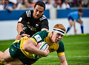 Australia centre Campbell Magnay dives over for an early score during the World Rugby U20 Championship 5rd Place play-off  match Australia U20 -V- New Zealand U20 at The AJ Bell Stadium, Salford, Greater Manchester, England on Saturday, June  25  2016.(Steve Flynn/Image of Sport)