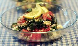 July 5, 2018 - Mi, USA - Israeli Couscous with Watermelon, Watercress and Feta. (Credit Image: © Regina H. Boone/TNS via ZUMA Wire)