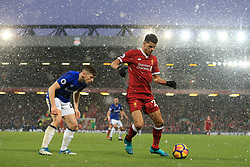10th December 2017 - Premier League - Liverpool v Everton - Dominic Solanke of Liverpool takes on Jonjoe Kenny of Everton - Photo: Simon Stacpoole / Offside.