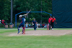 September 22, 2018 - Morrisville, North Carolina, US - Sept. 22, 2018 - Morrisville N.C., USA - Team USA ELMORE HUTCHINSON (55) in bat during the ICC World T20 America's ''A'' Qualifier cricket match between USA and Canada. Both teams played to a 140/8 tie with Canada winning the Super Over for the overall win. In addition to USA and Canada, the ICC World T20 America's ''A'' Qualifier also features Belize and Panama in the six-day tournament that ends Sept. 26. (Credit Image: © Timothy L. Hale/ZUMA Wire)