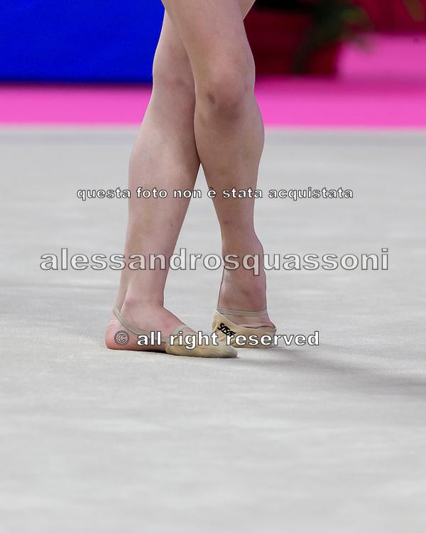 Stiliana Nikolova from Bulgaria performs ball during the Pesaro 2021 World Cup.