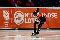 Xandra Velzeboer of Netherlands in action on 1500 meter during ISU World Short Track speed skating Championships on March 05, 2021 in Dordrecht