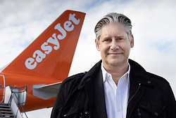 © Licensed to London News Pictures. 17/05/2021. Crawley, UK. EasyJet CEO Johan Lundgren stands in front of an aircraft at Gatwick Airport as step three on the roadmap out of lockdown begins. Travel to 12 countries on the green list is allowed from today. Holiday-makers returning home from green listed countries, including Portugal, Gibraltar and Iceland will not have to self-isolate on return. Various hospitality rules are also changing today - with pubs and restaurants allowed to serve seated customers indoors. Photo credit: Peter Macdiarmid/LNP